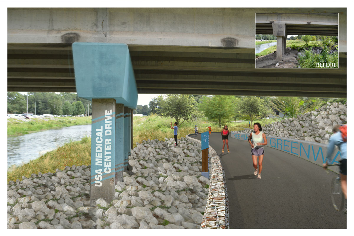 Three Mile Creek Greenway rendering - USA Medical Center Drive